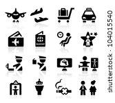 airport icons set elegant series