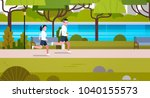 young fit couple jogging...   Shutterstock .eps vector #1040155573