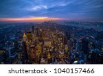 light sunset on city | Shutterstock . vector #1040157466