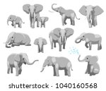 various elephant poses cartoon... | Shutterstock .eps vector #1040160568