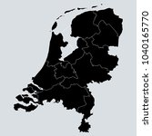 black netherlands map with... | Shutterstock .eps vector #1040165770
