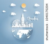 paper art of london  england... | Shutterstock .eps vector #1040170204