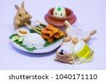 miniature rabbit  hamster and... | Shutterstock . vector #1040171110