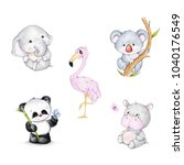 Stock photo set of wild animals panda elephant koala flamingo hippopotamus 1040176549