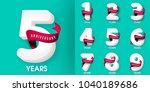 set of anniversary emblems  ...   Shutterstock .eps vector #1040189686