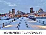snow covered benches  pier ...