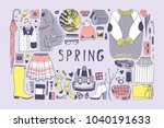 Stock vector hand drawn spring pattern cute vector background artistic doddle drawing creative ink art work 1040191633