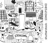hand drawn fashion illustration.... | Shutterstock .eps vector #1040191843