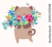 cute and funny cartoon cat... | Shutterstock .eps vector #1040194048