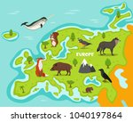 european map with wildlife... | Shutterstock . vector #1040197864