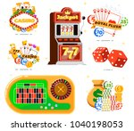 casino set with poker club... | Shutterstock . vector #1040198053