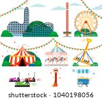 amusement park with attractions ... | Shutterstock . vector #1040198056