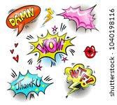 vintage pop art patches set... | Shutterstock . vector #1040198116