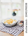 french fries on dish. | Shutterstock . vector #1040198338