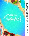 hello summer flyer template.... | Shutterstock .eps vector #1040200474