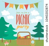 picnic or barbecue party...   Shutterstock .eps vector #1040202874