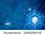 protection shield and icon lock ... | Shutterstock . vector #1040204143