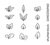 set leaf icon vector | Shutterstock .eps vector #1040206960