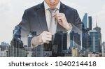 double exposure businessman... | Shutterstock . vector #1040214418