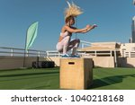 fit young woman doing box... | Shutterstock . vector #1040218168