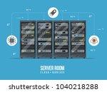data center and server room.... | Shutterstock .eps vector #1040218288