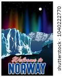 welcome to norway travel poster | Shutterstock .eps vector #1040222770