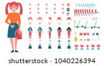 girl constructor with spare... | Shutterstock .eps vector #1040226394
