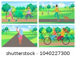 set of four posters with people ...   Shutterstock .eps vector #1040227300