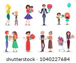 cartoon characters of all ages... | Shutterstock .eps vector #1040227684