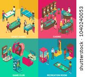 game rooms flat 3d isometric... | Shutterstock . vector #1040240053