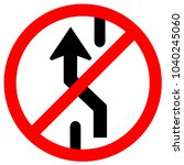 sign no changing lane  do not... | Shutterstock .eps vector #1040245060