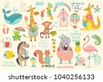 animals hand drawn style ... | Shutterstock .eps vector #1040256133