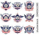 volleyball emblems on white... | Shutterstock .eps vector #1040261380