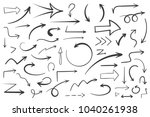 55 hand drawn arrows on white... | Shutterstock .eps vector #1040261938