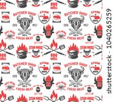 seamless pattern with steak... | Shutterstock .eps vector #1040265259