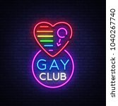 gay club neon sign. logo in... | Shutterstock .eps vector #1040267740