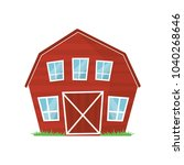 red wooden farm barn with big... | Shutterstock .eps vector #1040268646