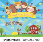 cartoon farm banners. rural... | Shutterstock .eps vector #1040268700
