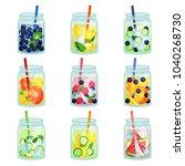 flat vector set of delicious... | Shutterstock .eps vector #1040268730