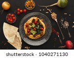 chickpea hummus with mussels... | Shutterstock . vector #1040271130