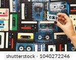 retro audio cassette tapes on... | Shutterstock . vector #1040272246