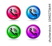 glossy buttons with handset ... | Shutterstock .eps vector #1040273644
