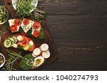 wholegrain sandwiches and bowls ... | Shutterstock . vector #1040274793