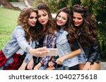 portrait of trendy beautiful... | Shutterstock . vector #1040275618