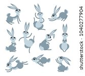 cartoon cute rabbit or hare.... | Shutterstock .eps vector #1040277904