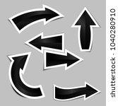set of black arrow stickers... | Shutterstock .eps vector #1040280910