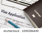 Small photo of Visa application form to travel Immigration a document Money for Passport Map and travel plan
