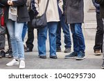 people waiting to cross a... | Shutterstock . vector #1040295730