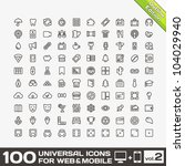 100 universal icons for web and ... | Shutterstock .eps vector #104029940