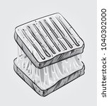 hand drawn gray scale vector... | Shutterstock .eps vector #1040302000